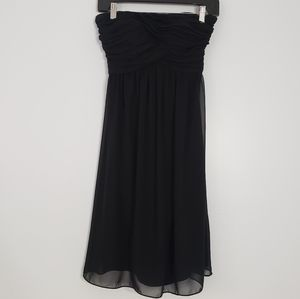 WHBM strapless ruching front black dress
